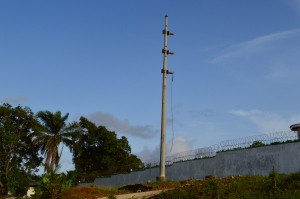 This is a high tension electric pole behind former President Taylors' house in Monrovia - without cables!