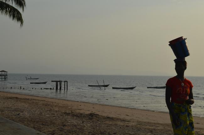 Girl Hawking on the Beach