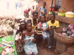 Students in Murray Town in Freetown get radios