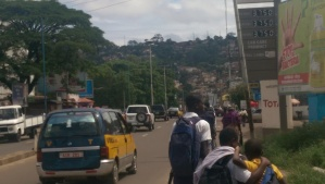 School kids on Main Motor Road, Brookfields, Freetown